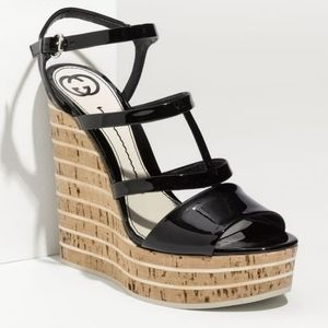 Gucci Eilin Patent Leather Cork Wedge Sandal